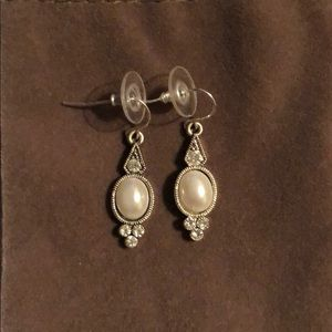 Silver and pearl statement dangly earrings
